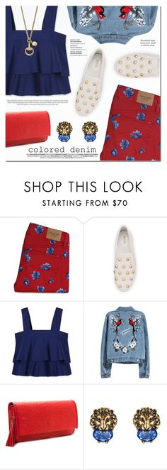 """""""Spring Trend: Colored Denim"""" by a-a-nica ❤ liked on Polyvore featuring Abercrombie & Fitch, MICHAEL Michael Kors, Tory Burch and Gucci"""