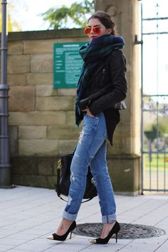 2013 leather jacket: Hallhuber // jeans: H&M // scarf: Zara  // bag: Prada  // pumps: I love shoes  http://fashionhippieloves.com