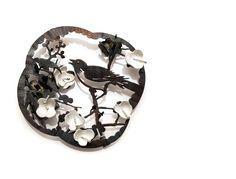 Joungmee Do  Bird with Blossom brooch  Fine silver, steel