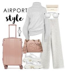 """""""Untitled #5060"""" by theeuropeancloset on Polyvore featuring CalPak, STELLA McCARTNEY, Balenciaga, Gucci, Narciso Rodriguez and airportstyle"""