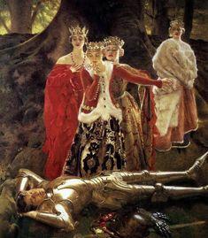"""The Four Queens Find Lancelot Sleeping"" -- by Frank Cadogan Cowper"