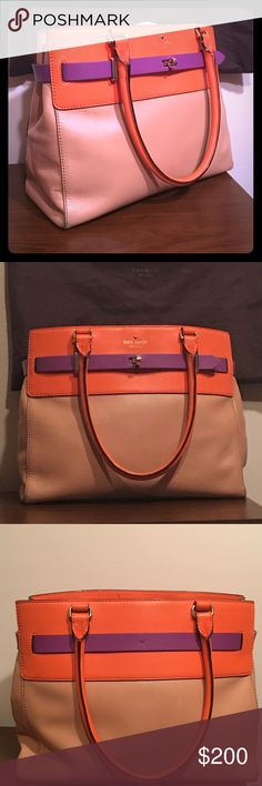"""Kate Spade Bourbon Street!!!!!!! Drop length 7.87"""" Smooth leather with matching trim Carolina spade dot lining 14-karat light gold plated hardware Open top  Interior zip and double slide pockets Leather Measurements:13.3""""L x 11.2""""H x 5.5""""W Comes with dust bag kate spade Bags Satchels"""