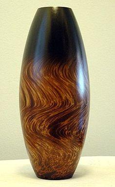 Marbled Brown & Tan Mango Wood Vase - no artist attribution