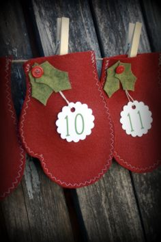 Christmas Advent Garland...I wonder if the Cricut will cut felt