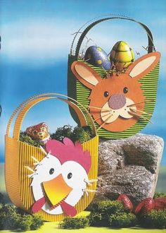 bunny & chicken basket for Easter eggs - spring/Easter paper craft pattern