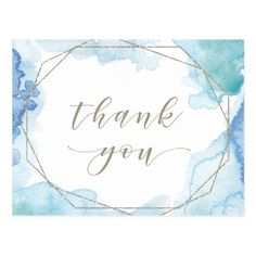 Geometric Watercolor Thank You Postcard - thank you gifts ideas diy thankyou Watercolor Postcard, Watercolor Sky, Watercolor Cards, Calligraphy Watercolor, Calligraphy Cards, Karten Diy, Thank You Postcards, Thank You Greeting Cards, Thank You Notes