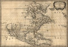 """Map of North America by Nicolas Sanson (1600-1667) published in 1650. Covers Canada or La nouvelle France, eastern United States and Central America. From his 1658 (i.e. 1660) """"Cartes générales de toutes les parties du monde"""". Source: Library of Congress, Geography and Map Division."""