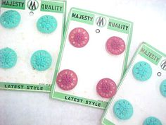 Vintage Pierced Button Cards Flowers Pink Aqua Turquoise by nickelnotions