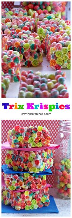 Trix Krispies from cravingsofalunatic.com- Super easy to make cereal treats made with Trix Cereal. Your family and friends will love these. Simple, quick and incredibly tasty. Not to mention they are just seriously eye catching!