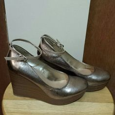 Rue 21 wedges Cute metallic wedges. Worn once or twice. A little tight on me. Rue 21 Shoes Wedges