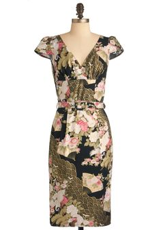 Zen Garden Party Dress - Long, Green, Pink, Tan / Cream, Black, Gold, Print, Party, Sheath / Shift, Cap Sleeves, Multi, Floral