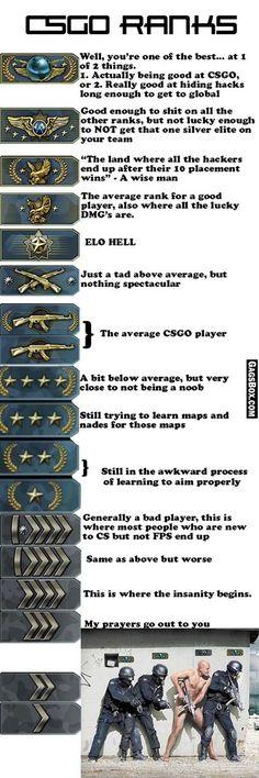 ♡ On Pinterest @ kitkatlovekesha ♡ ♡ Pin: Video Games ~ CS:GO ~ CSGO Ranks Explained ♡