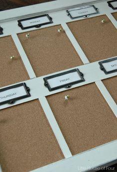 Weekly cork board organizer