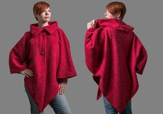 Women wool cape open front wool coat women loose wool von RoteTulpe