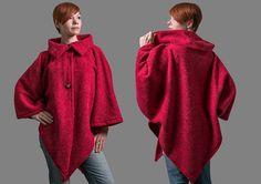 Women wool cape open front wool coat women loose wool von RoteTulpe