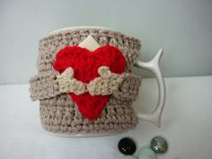Items similar to Valentine's Day Heart Cup Cozy Sweater heart Cozy cup Cozy Mug Sweater Handmade Crocheted Coffee Tea Mug Cup Cozy on Etsy, Diy Abschnitt, Valentine Day Special, Valentines Day Hearts, Valentine Gifts, Crochet Mug Cozy, Cozy Cover, Coffee Cozy, Saint Valentine, Crochet Accessories, Cozy Sweaters