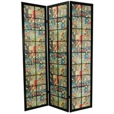 A black finish, Edo style large pane room divider with a pattern design of colorful kabuki actors in full costume. Display as an art screen, or to define space and provide privacy.