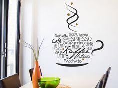 Wandtattoo Kaffeetasse mit Herzen in der Küche
