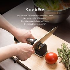A dull knife is a dangerous knife. Seasoned cooks know that keeping your knives sharp is the key to avoiding forced, dangerous slips. Aboden 2-stage knife sharpener is a well-made sharpening system that precisely sharpens straight-edge knives, including chef knives, butcher knives, Asian-style knives and sport knives. It is easy to use and manufactured with the user's safety in mind.