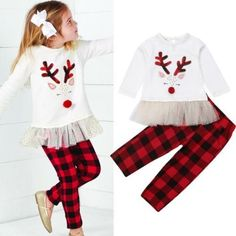US Christmas Kids Baby Girl Tutu Dress Tops+Pants Outfits Set Clothes Toddler Christmas Outfit, Girls Christmas Outfits, Baby Girl Christmas, Holiday Outfits, Christmas Deer, Christmas Fashion, Long Sleeve Mesh Dress, Lace Top Dress, Dress Tops
