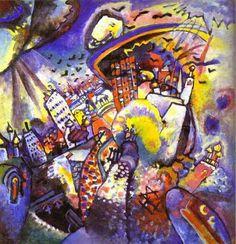 Vassily Kandinsky, dont on fête aujourd'hui le 148e anniversaire : Moscou, une toile que j'adore et qui figure aussi sur la couverture d'une édition italienne d'un de mes romans préférés : le Maître et Marguerite de Michail Bulgakov