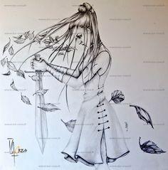dessin original guerrière médiévale en vente sur: http://fr.dawanda.com/shop/Isabelle-Reina