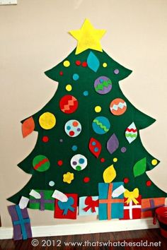 Easiest Felt Christmas Tree. Keep them busy decorating this one one and they won't have any time left to mess with your real one!