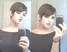 long pixie with bangs.