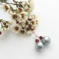 sweet silvery pearl earrings, a wee bit of bling for the holidays, and an elegant choice of pearl drop earrings any time. Christmas earrings / silver and red earrings / by LimeJewellery