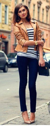 so chic. i need a brown leather jacket!
