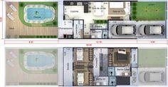 Planta de sobrado pequeno e moderno. Planta para terreno 6x25 Townhouse Designs, Small Modern Home, Dream House Interior, Facade Design, Architecture Plan, House Floor Plans, Home Renovation, My Dream Home, Flooring