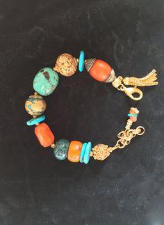 Boho Asian Gemstone Amulet Bracelet Tibetan Vintage Hand Made Carved Gold Turquoise Copal Opal Phoenix Unique Gift Talisman by MinedStars on Etsy
