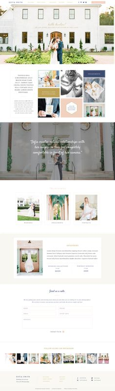 SOFIA Showit 5 Website Design by Seaside Creative. Beautiful website and web design, clean and modern template that has a feminine and graceful look. Would be perfect for wedding photographers and creative entrepreneurs. Web Design Trends, Web Ui Design, Branding Design, Branding Agency, Graphic Design, Website Layout, Blog Website Design, Photography Sites, Photography Website