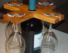 Sostenedor de botella y vidrio de pentagrama por McLeansWoodDesigns