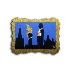 De skyline van oeteldonk! Met een knipoog naar Jeroen Bosch  Afmeting: 8,5 x 6 cm