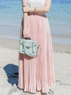 Pink Pleated Maxi Skirt