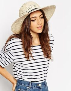 ASOS Straw Floppy Hat With Thin Bow Trim at asos.com  accessories  covetme bd81c72b1381