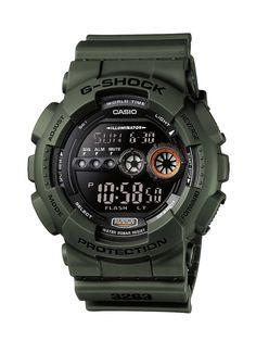 CASIO G-Shock GD-100MS-3ER - Reloj de caballero de cuarzo, correa de resina color verde: Amazon.es: Relojes