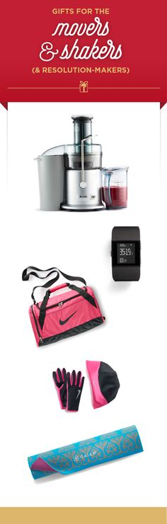 Attention gift givers: Here's our gift list for that fit- focused special someone. Gifts from top to bottom: Breville The Juice Fountain Plus; Fitbit Surge Wireless fitness super watch; Nike Brasilia small duffel; Nike running gloves and hat; and Gaiam yoga mat. Find these good-for-you gifts and more at Kohl's.