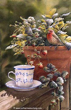 Catherine McClung - Original Paintings, Tea & Strawberries