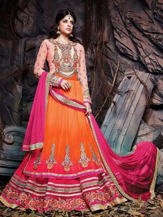 Orange And Pink Net Lehenga Choli With Hand Embroidery Work www.saree.com