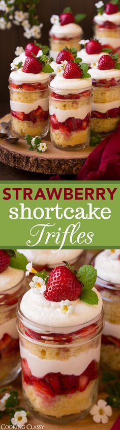 Strawberry Shortcake Trifles - these are HEAVENLY!! Can't wait to make them again! Fluffy sour cream cake, cream cheese whipped cream and sweetened strawberries.