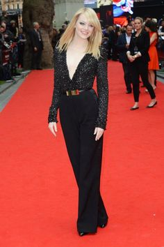 Emma Stone wears an ELIE SAAB Ready-to-Wear Fall 2012-13 jump-suit to the UK Premiere of 'The Amazing Spider-Man.'