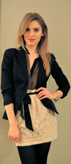 I love the lace skirt with the black blazer.  It like puts a vintage twist on a modern look.  Luv it <3