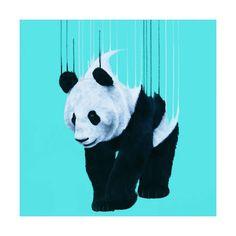 Panda Pour-Turquoise Art print by Louse McNaught