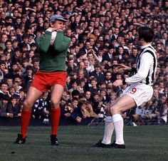 11th October 1969. Gary Sprake stops West Brom centre forward Jeff Astle before he can score at The Hawthorns.
