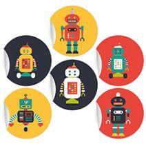 24 mega coole Retro Aufkleber mit verschiedenen Robotern auf schwarz, rot und gelb, MATTE Papieraufkleber (ø 45mm; 4 x 6 Motive)
