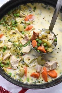 Turkey Pot Pie Soup is one of my favorite and easy recipes to use up leftover turkey | http://foodiecrush.com