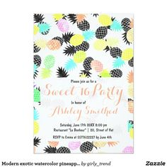 Modern exotic watercolor pineapples Sweet 16 Card Celebrate your Sweet 16 birthday party with this modern, fresh and bright tropical and exotic watercolor pineapples pattern in pink, turquoise, coral, green, yellow pastel watercolor and black pineapples fruits. The background color is fully customizable. The perfect gift for a fruity summer on the beach.