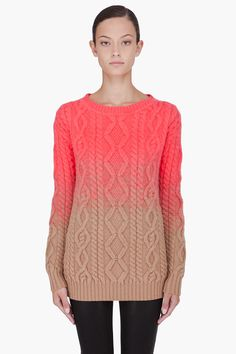 Khaki as neutral instead of grey. Achieve gradation by double stranding. DSQUARED2 Coral Dipped Knit Sweater